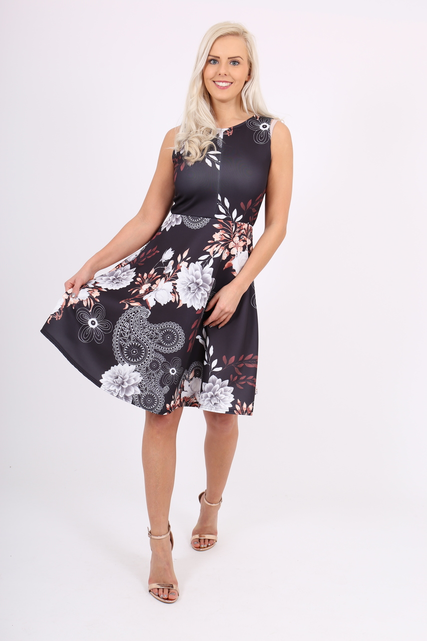 Valerie Black Floral Skater Dress