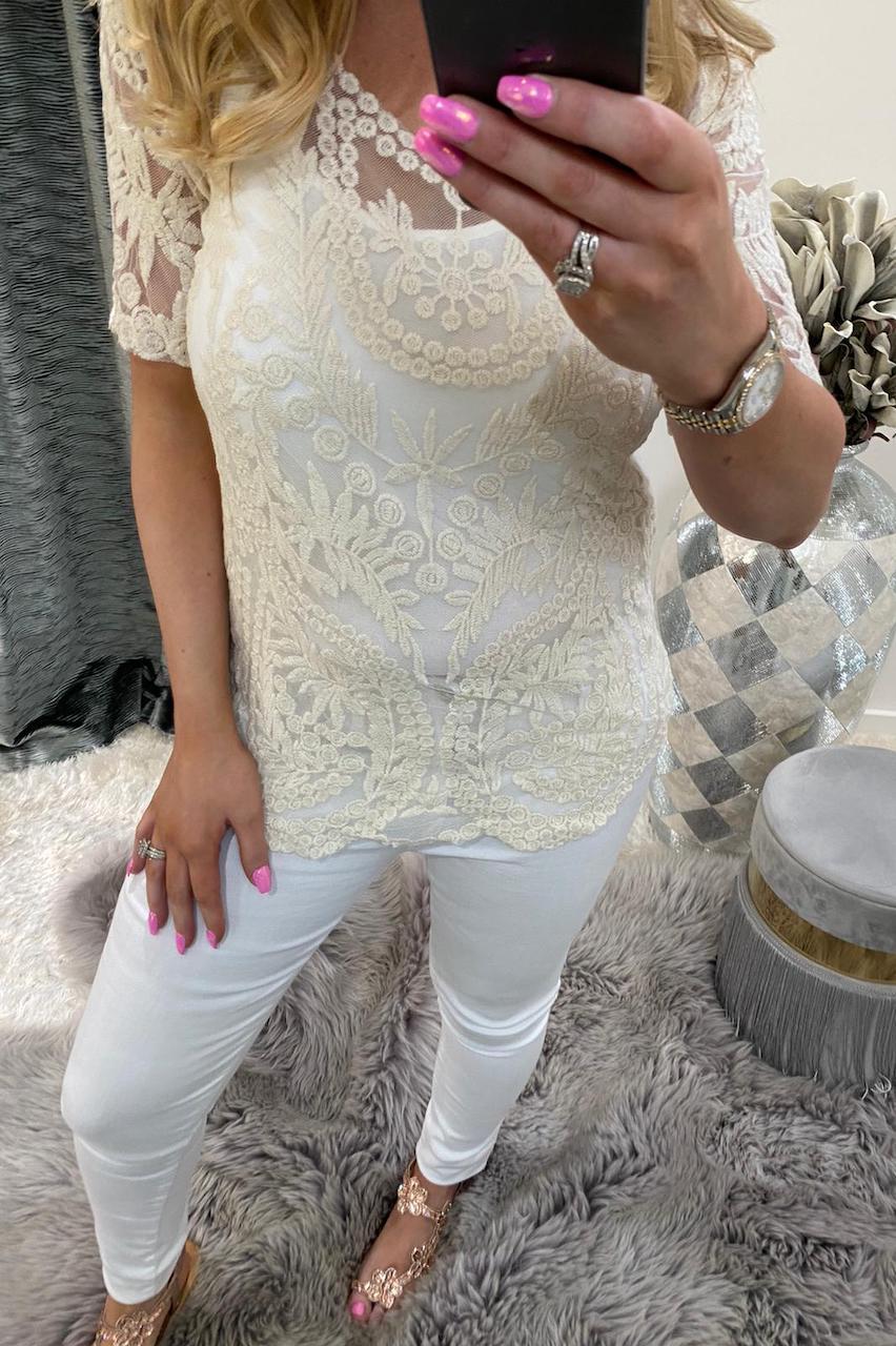 Cream Kennedi Crochet Top with Camisole