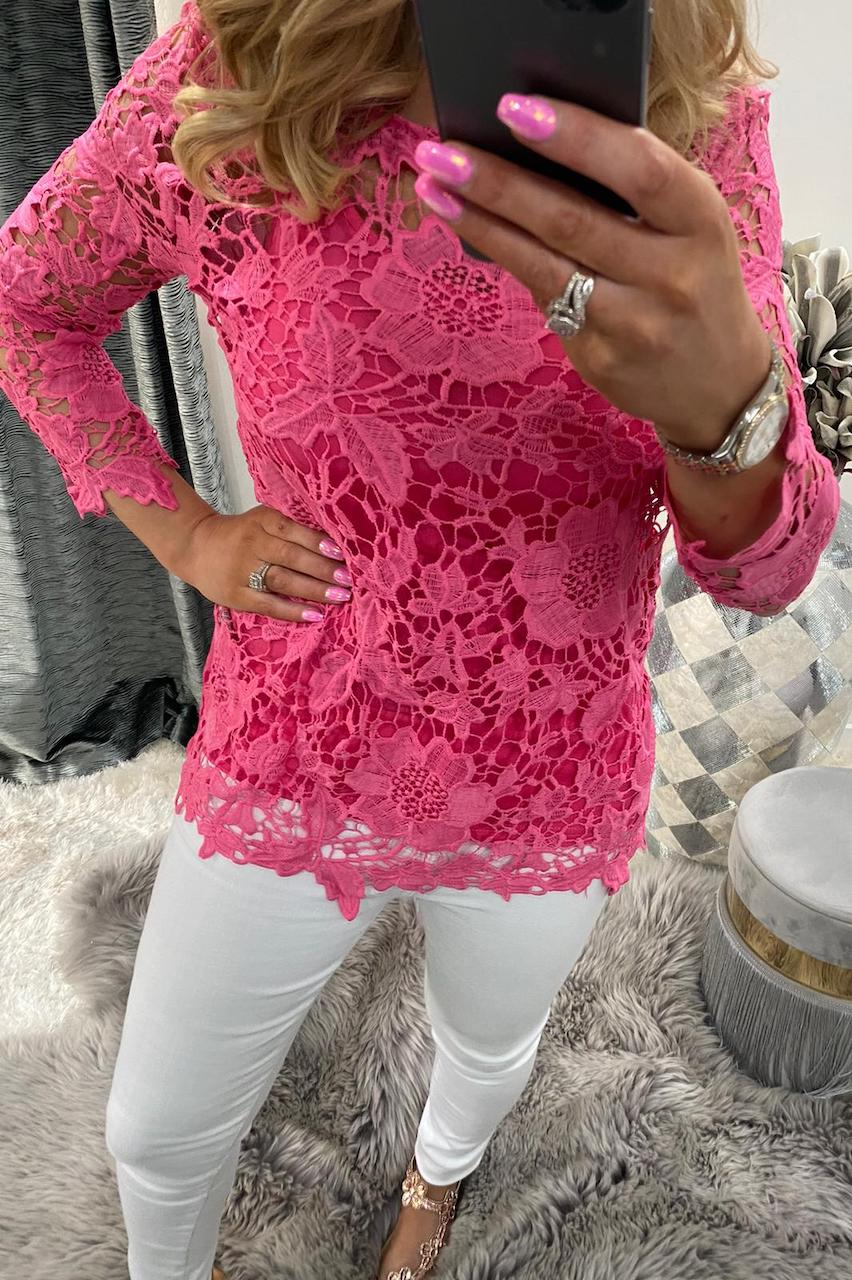 Pink Alanis Crochet Top with Camisole.