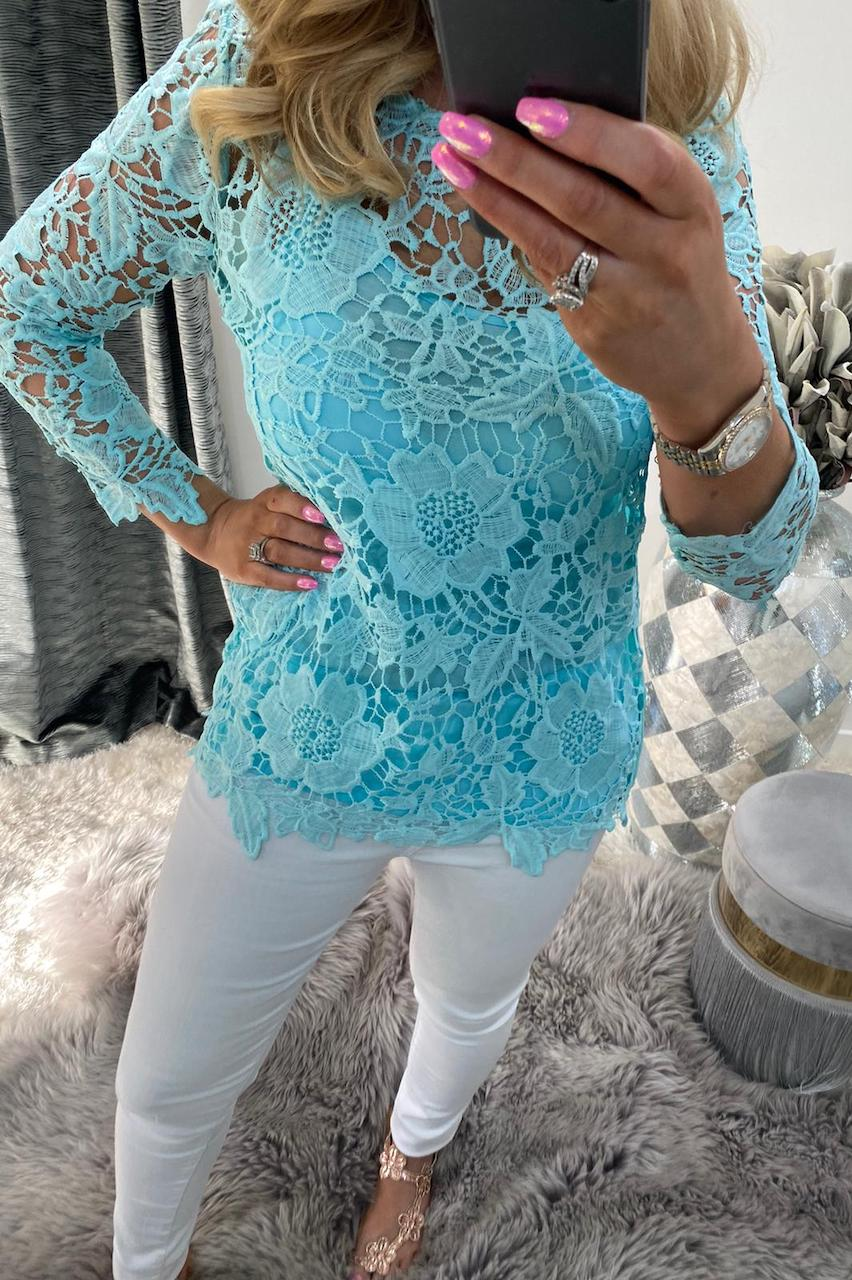Blue Alanis Crochet Top with Camisole .