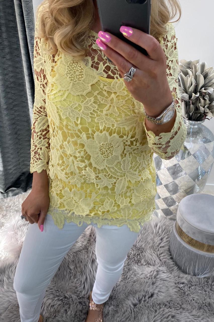 Yellow Alanis Crochet Top with Camisole.
