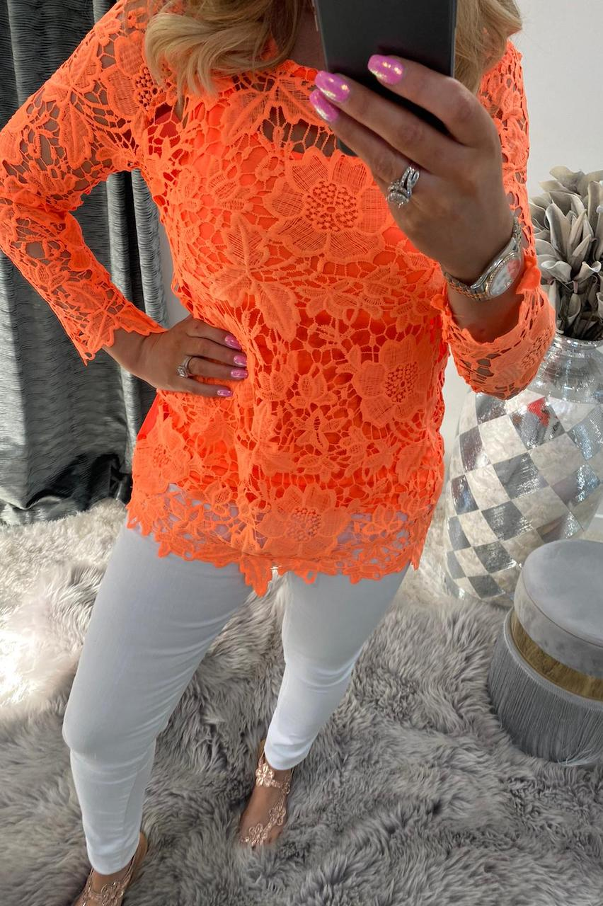 Coral Alanis Crochet Top with Camisole.