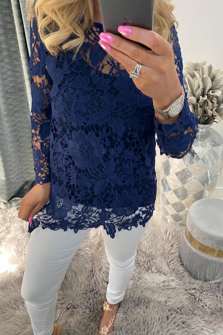 Navy Alanis Crochet Top with Camisole