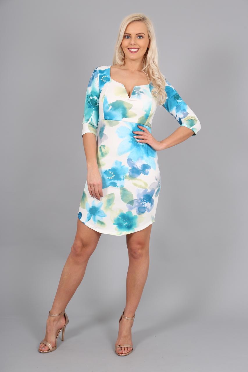 Blue Floral Jennifer Bodycon Dress