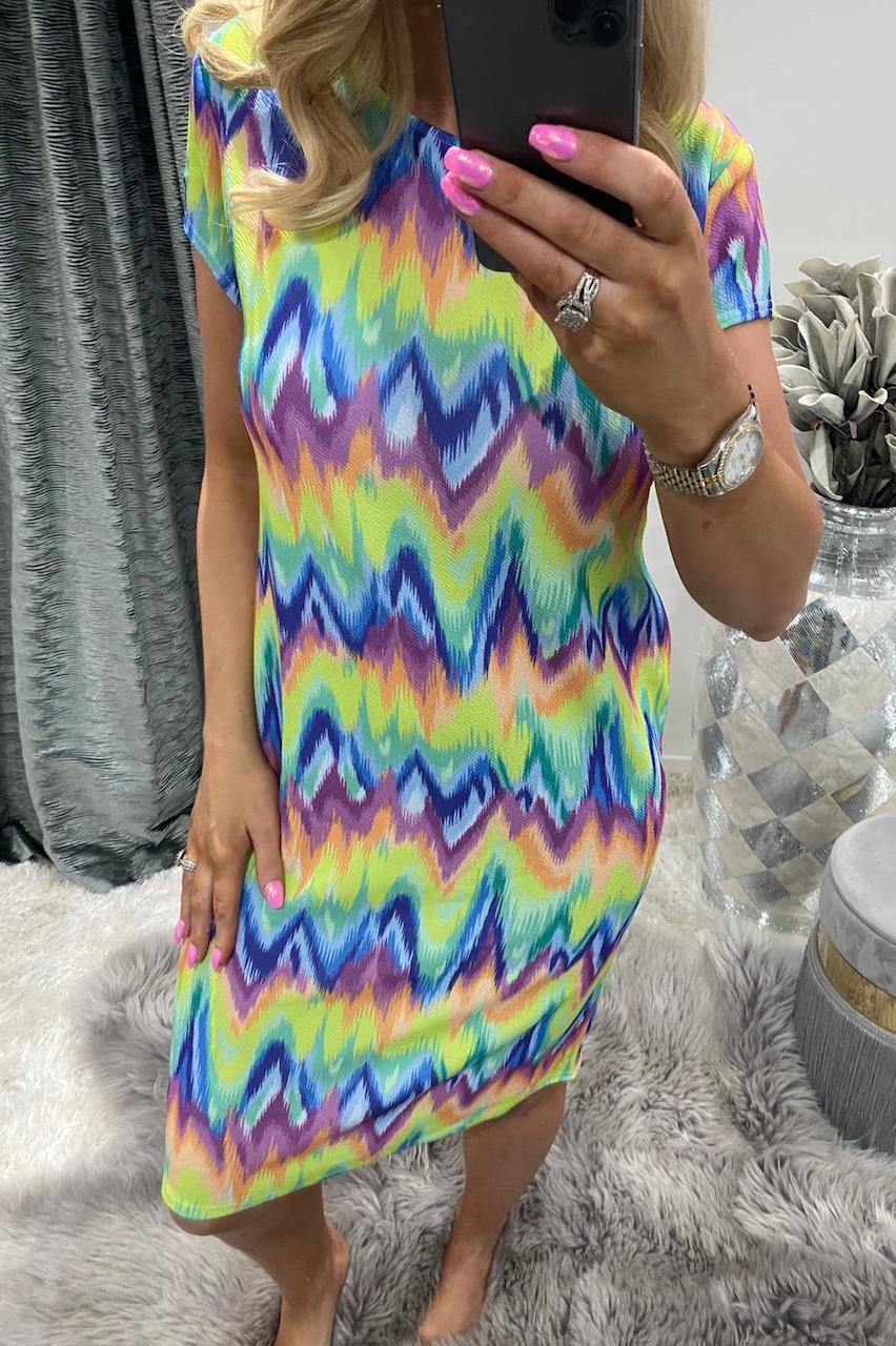 Rainbow Aztec Midi Dress