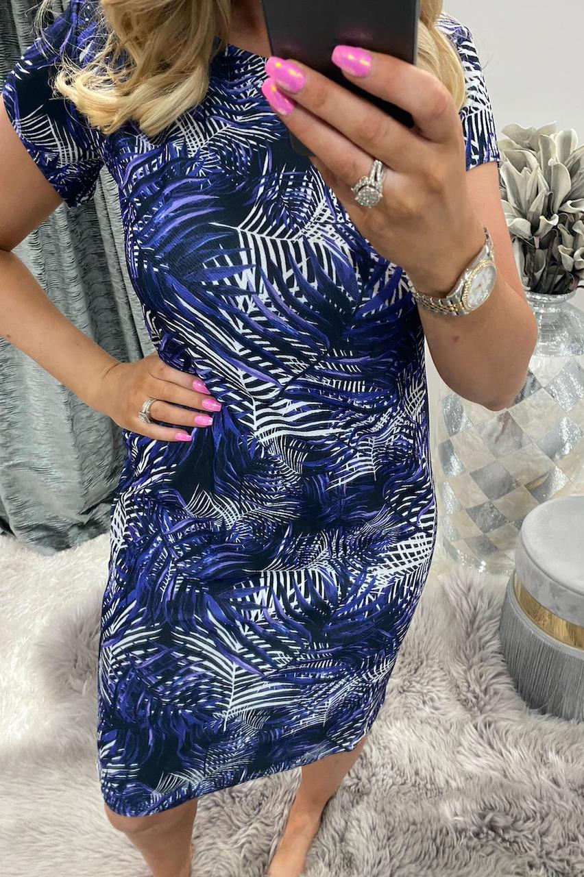 Blue Leaf Midi Dress