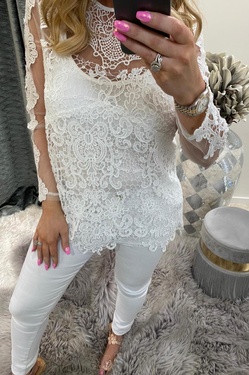 White Izel Crochet Top