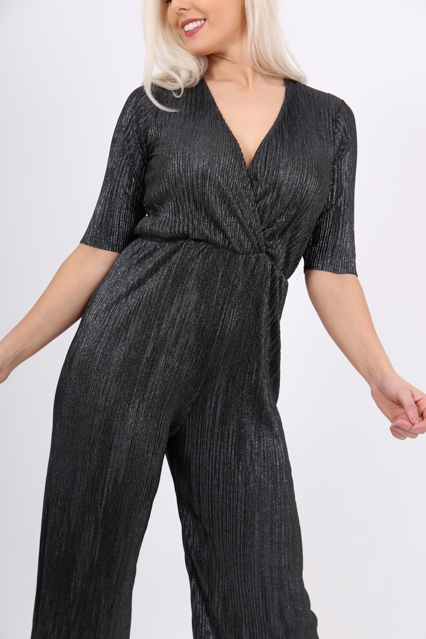 Pleated Shimmer Jumpsuit