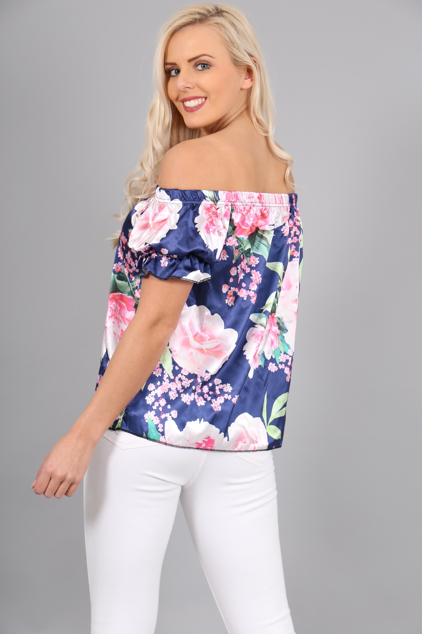 Leana Satin Navy Floral Bardot Top