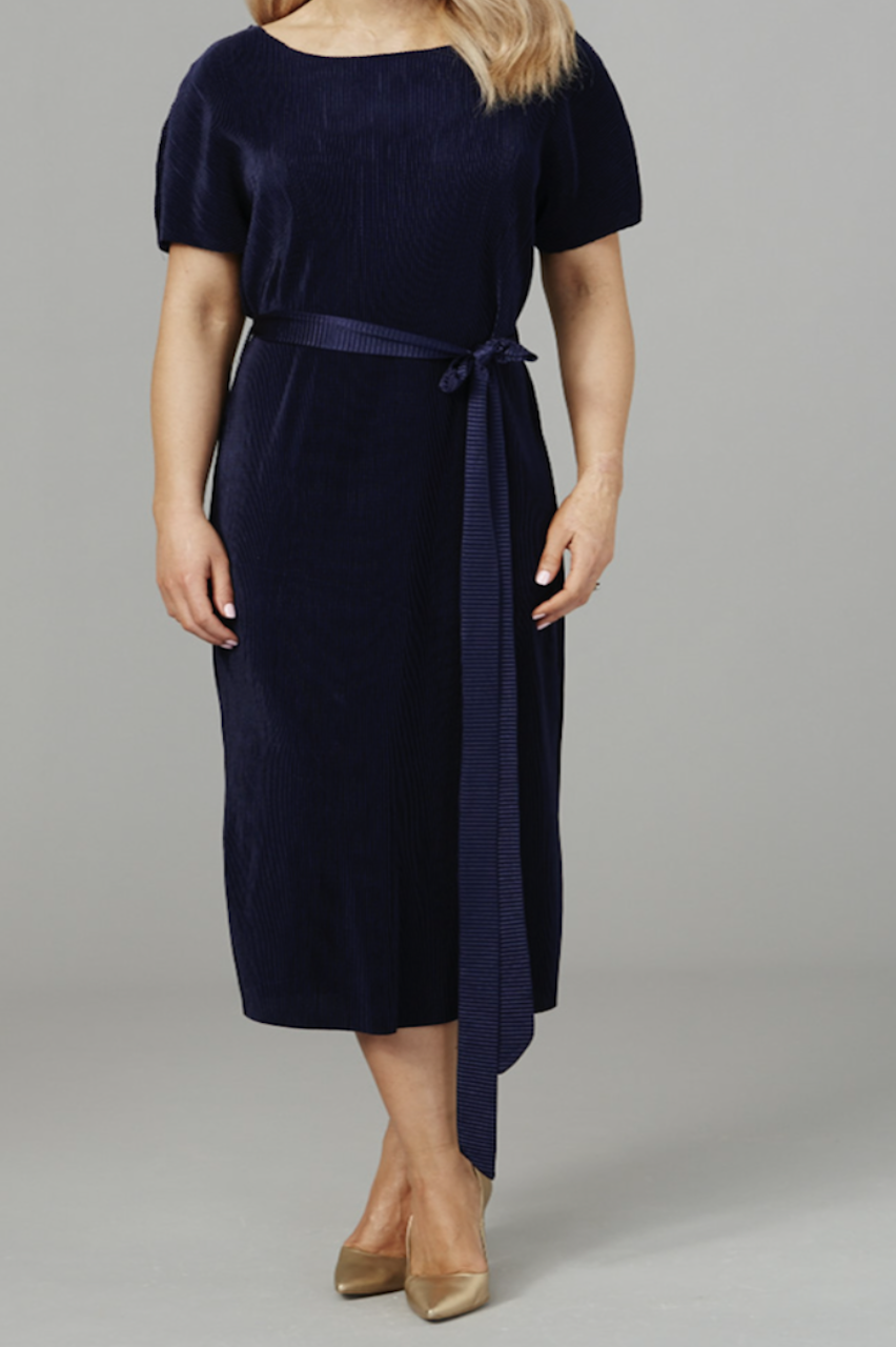 Navy Belted Pleated Tie Dress