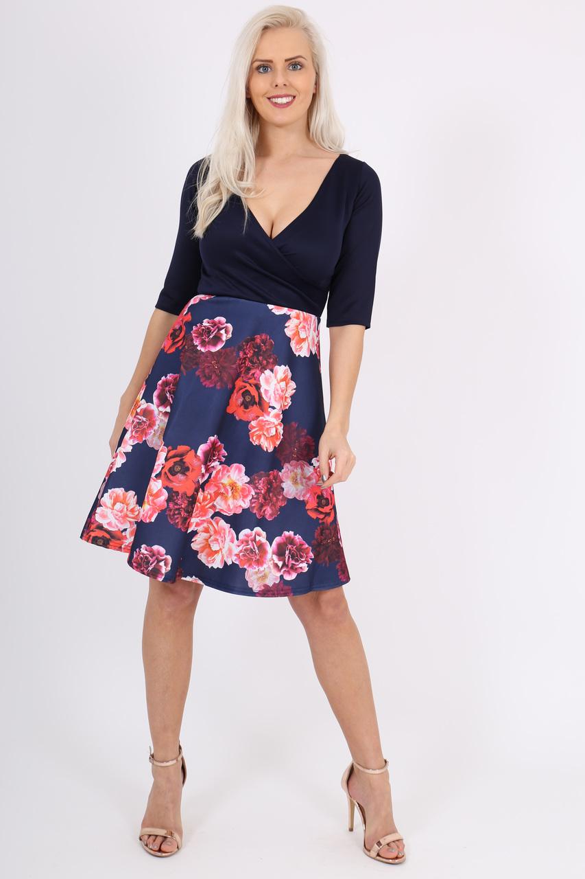 Kendra Navy Floral Skater Dress