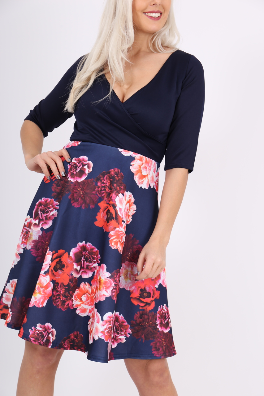 Kendra Navy Floral Skater Dress