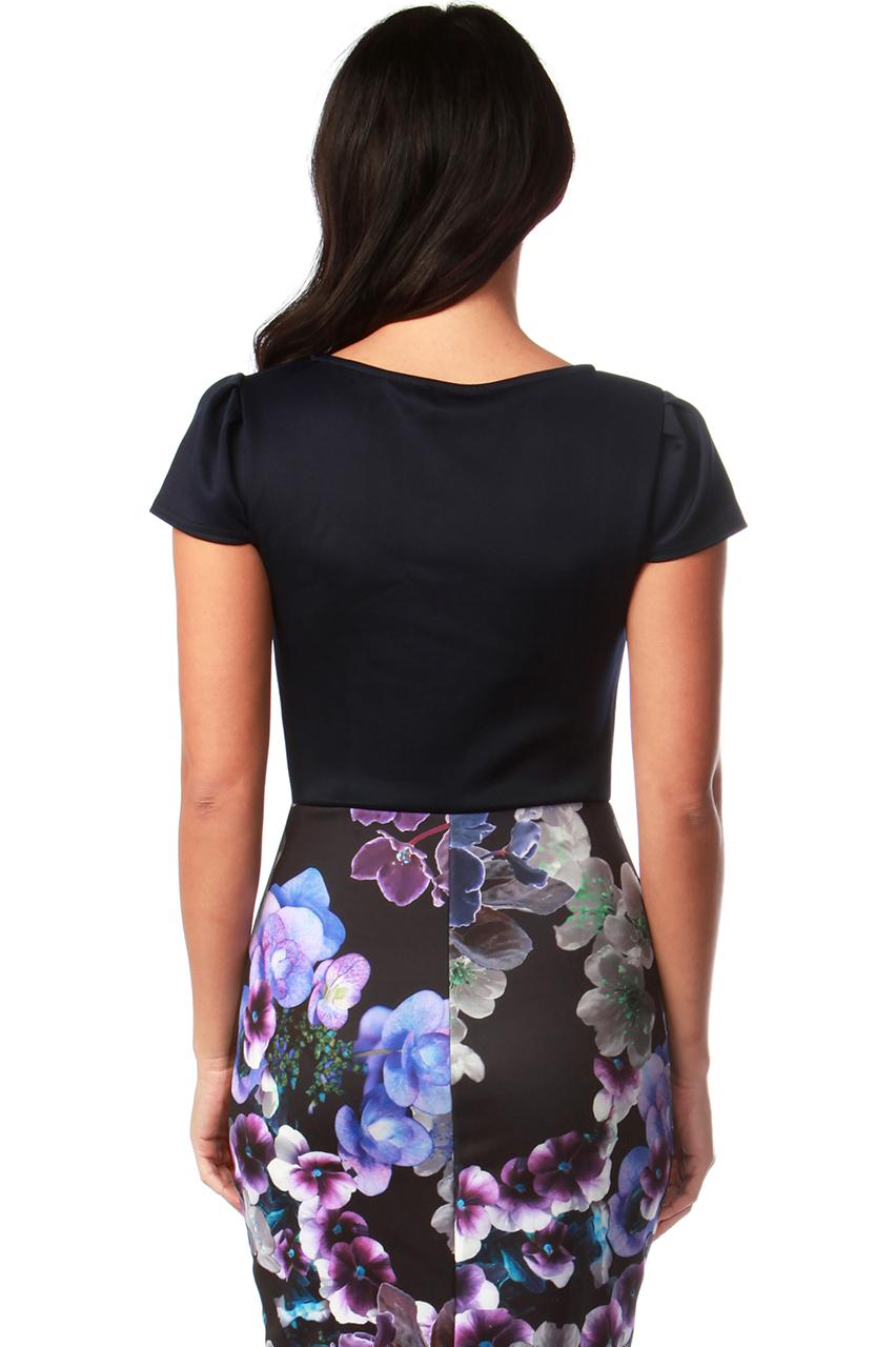 Tina Navy Contrast Bow Bodycon Dress