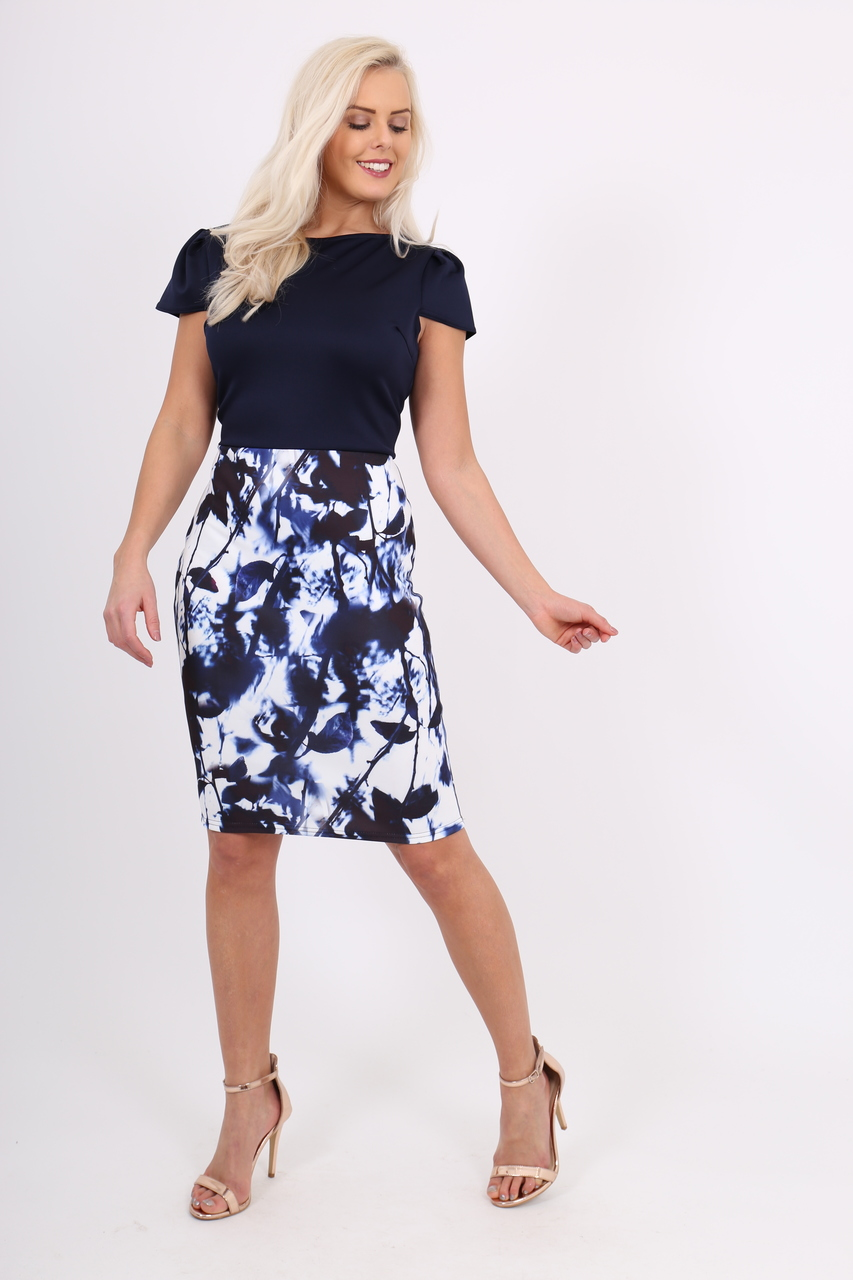Natasha Blue Contrast Bodycon Dress