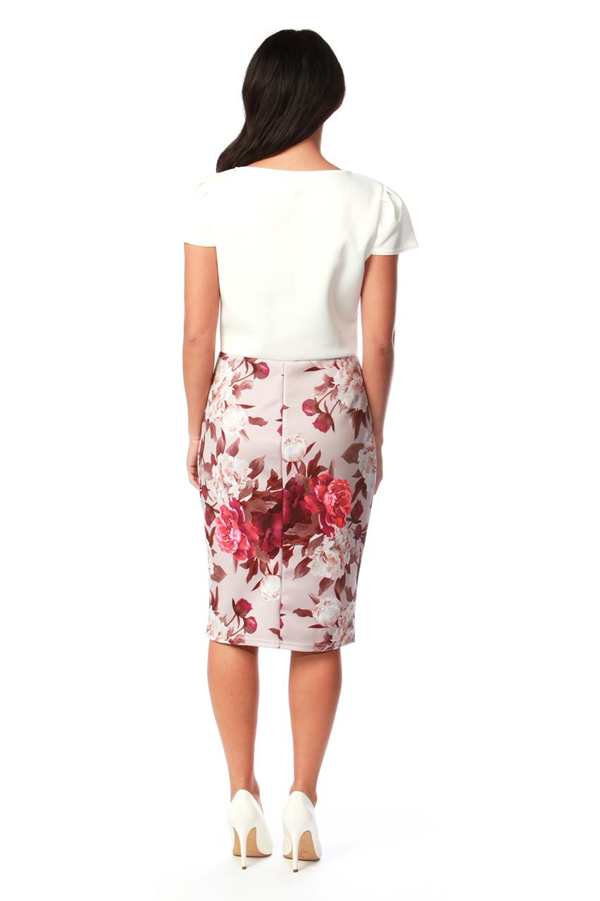 Elouise Beige Bow Contrast Bodycon Dress