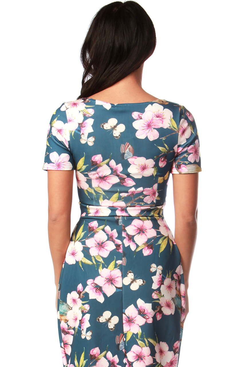 Navy Monroe Floral Tulip Dress
