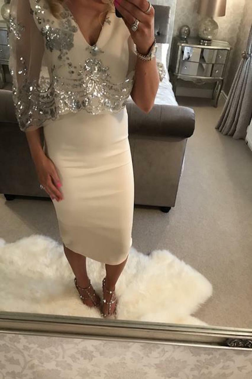 Nude Silver Sequin Overlay Fiona Bodycon Dress
