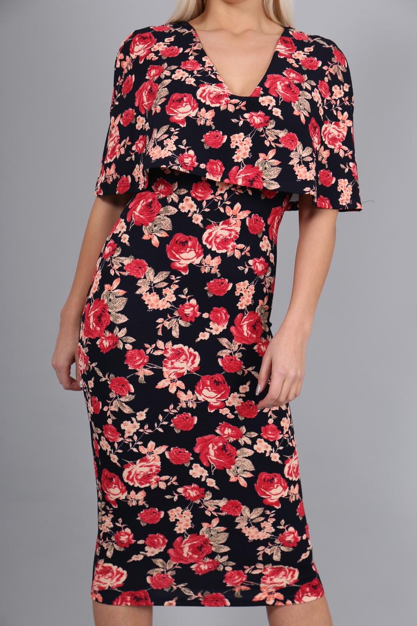 Evoke Floral Fiona Overlay Bodycon Dress