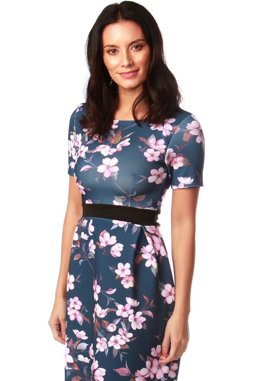 Roswell Black Band Tulip Dress