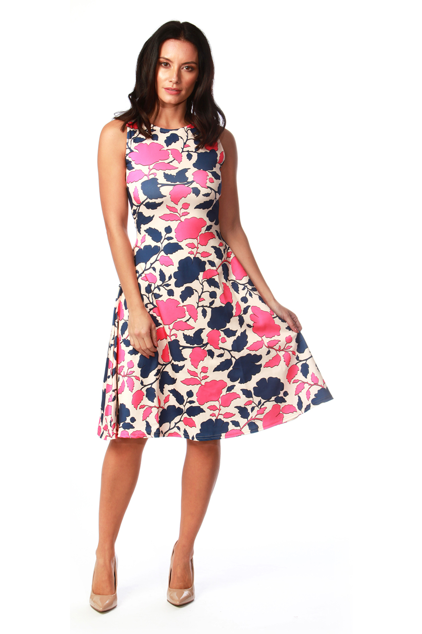 Alondra Pink Floral Skater Dress