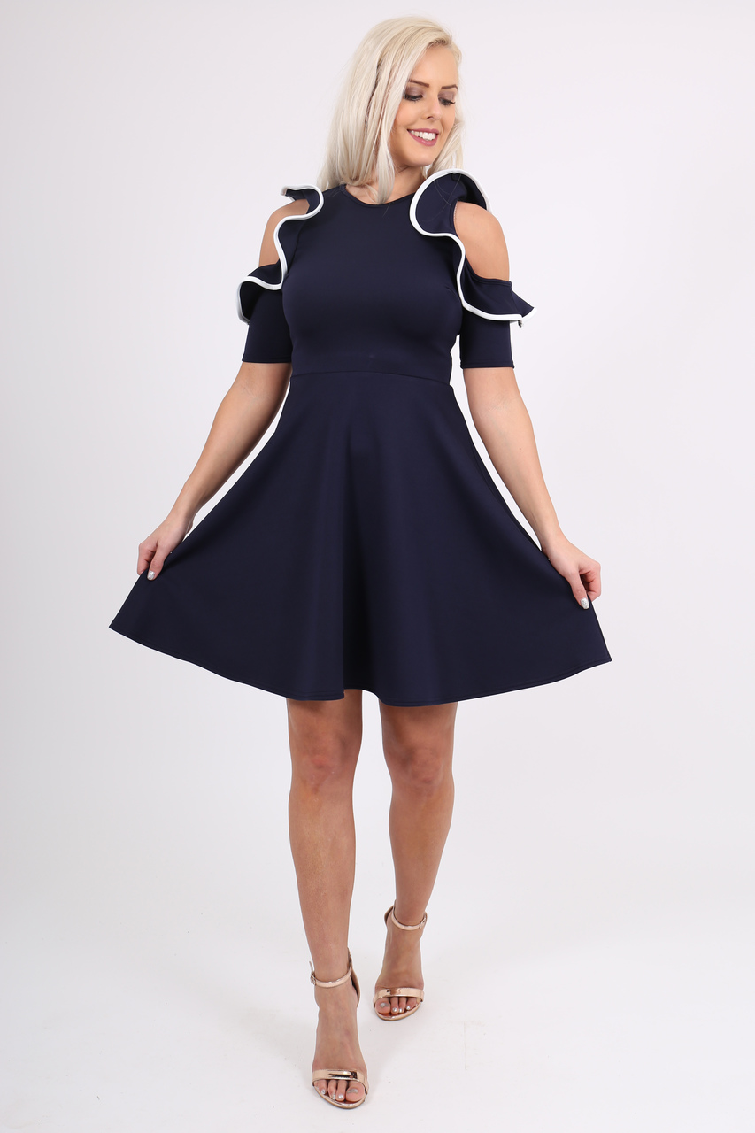 Anya Navy Ruffle Shoulder Skater Dress