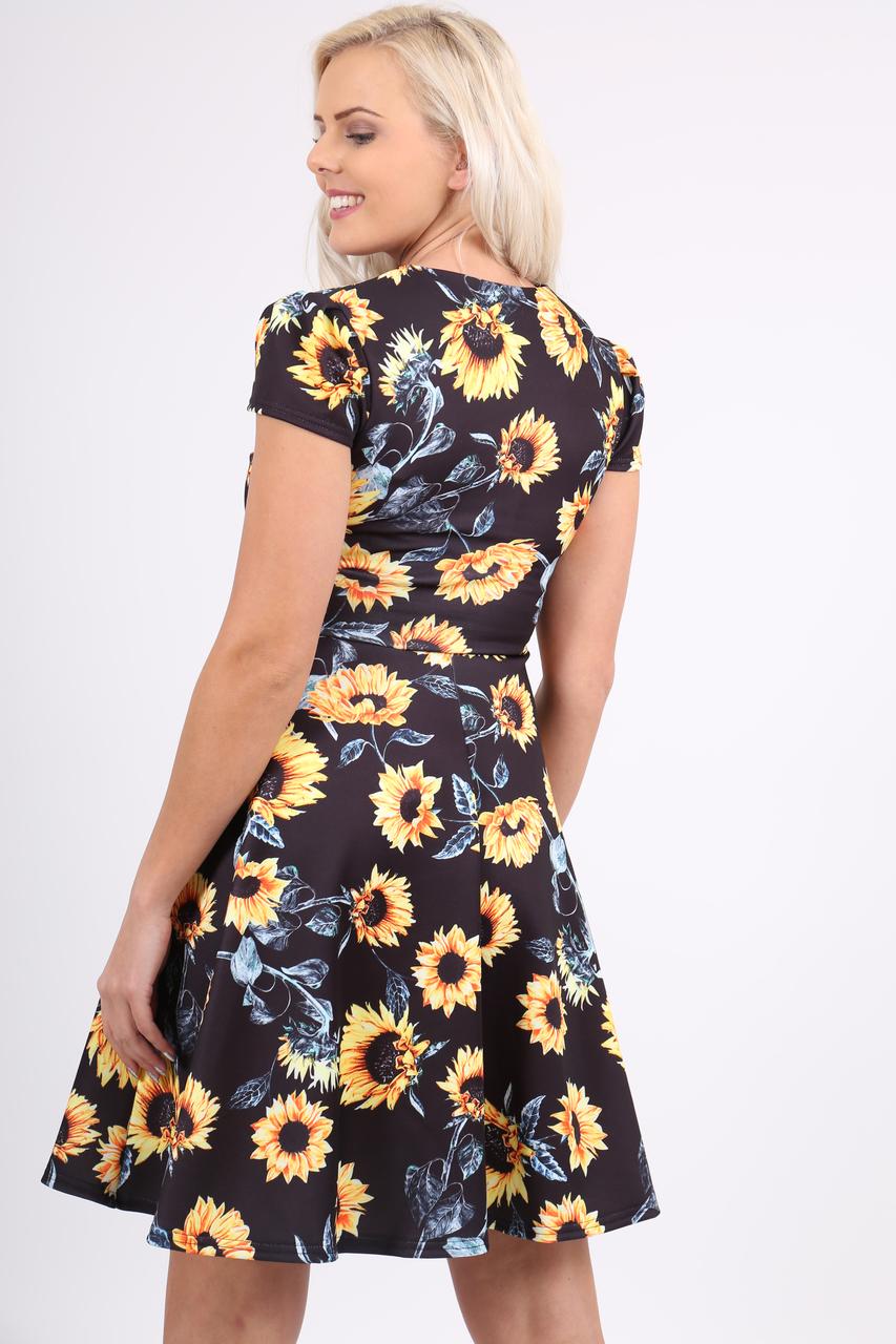 Navy Sunflower Floral Keyhole Skater