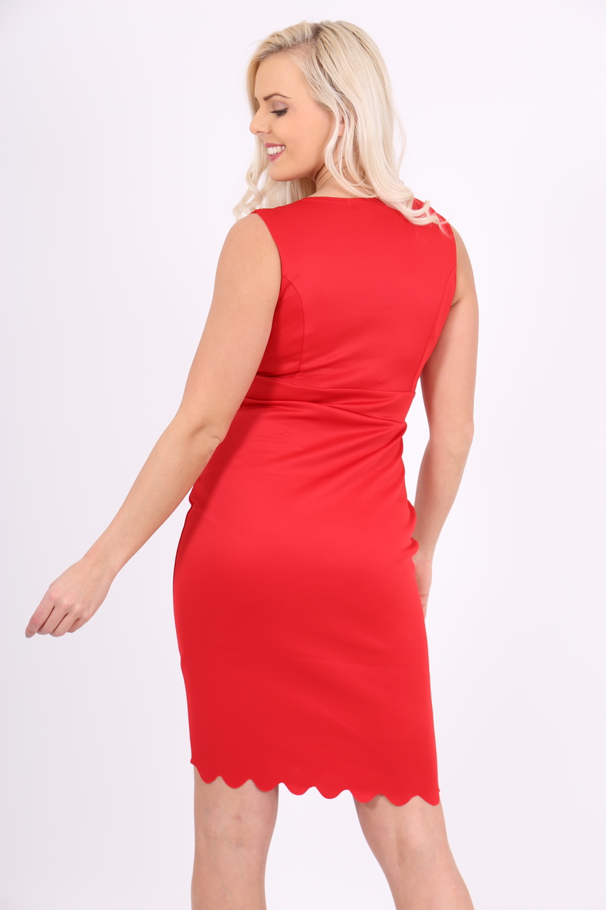 Scallop Red Bodycon Dress