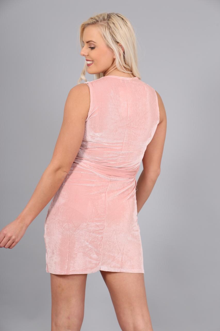 Pink Pocket Corduroy Shift Dress