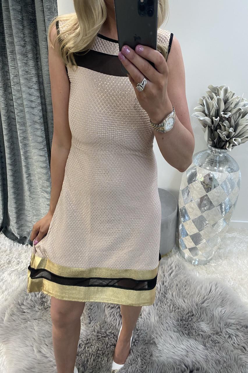 Pariz Quilted Gold Skater Dress