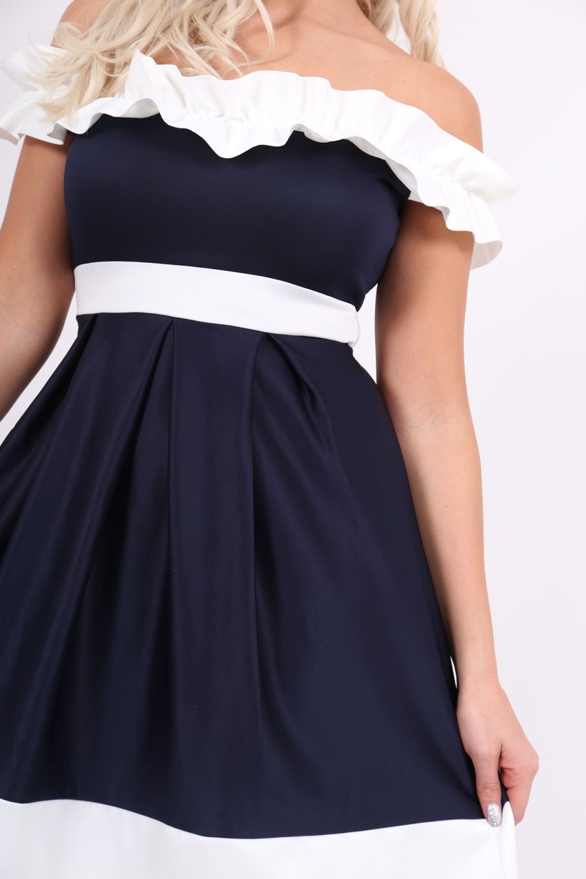 Navy & White Off Shoulder Ruffle Skater Dress