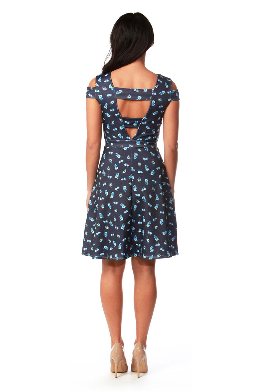 Prisicilla Cold Shoulder Floral Skater Dress