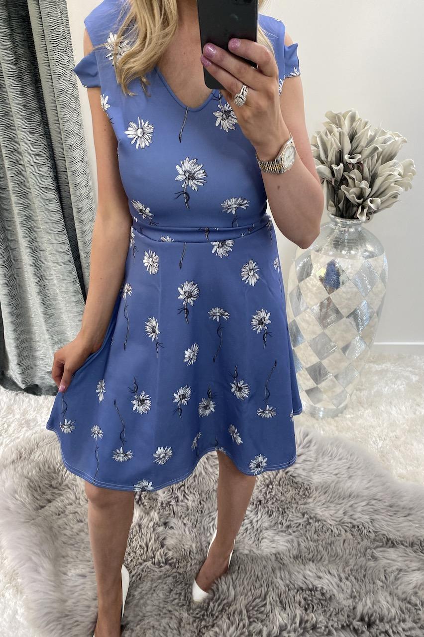 Peyton Blue Cold Shoulder Floral Skater Dress