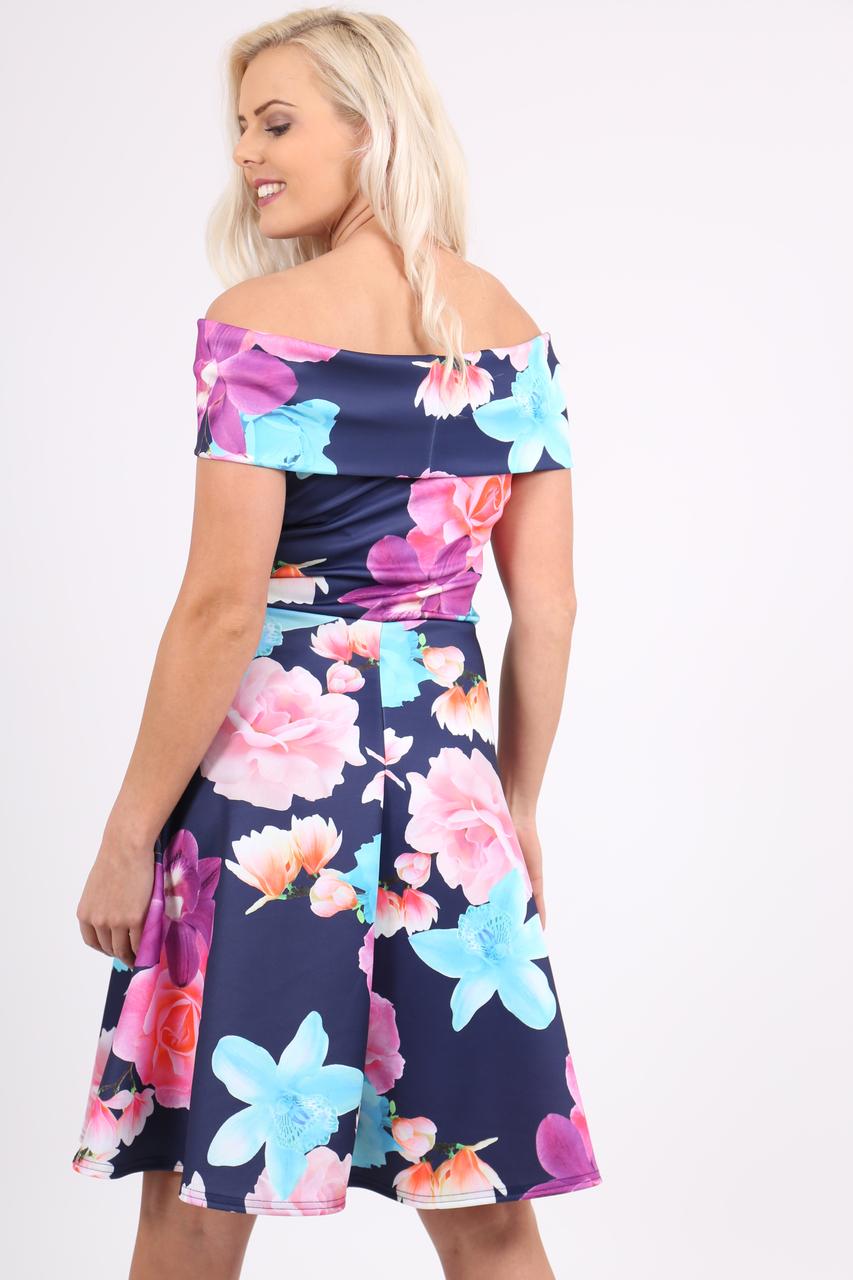 Navy Elizabeth Bardot Skater Dress