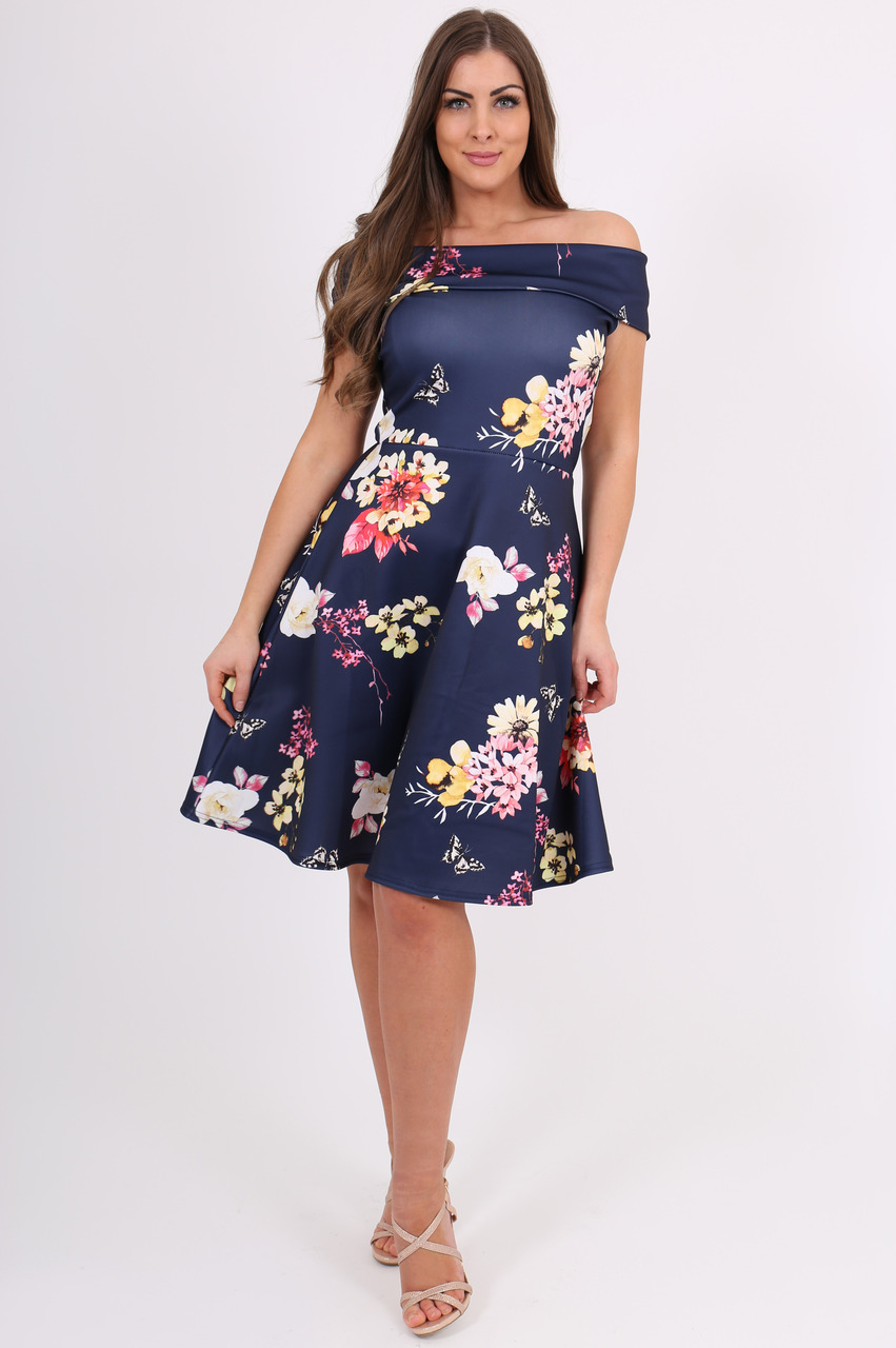 Navy Camila Bardot Skater Dress
