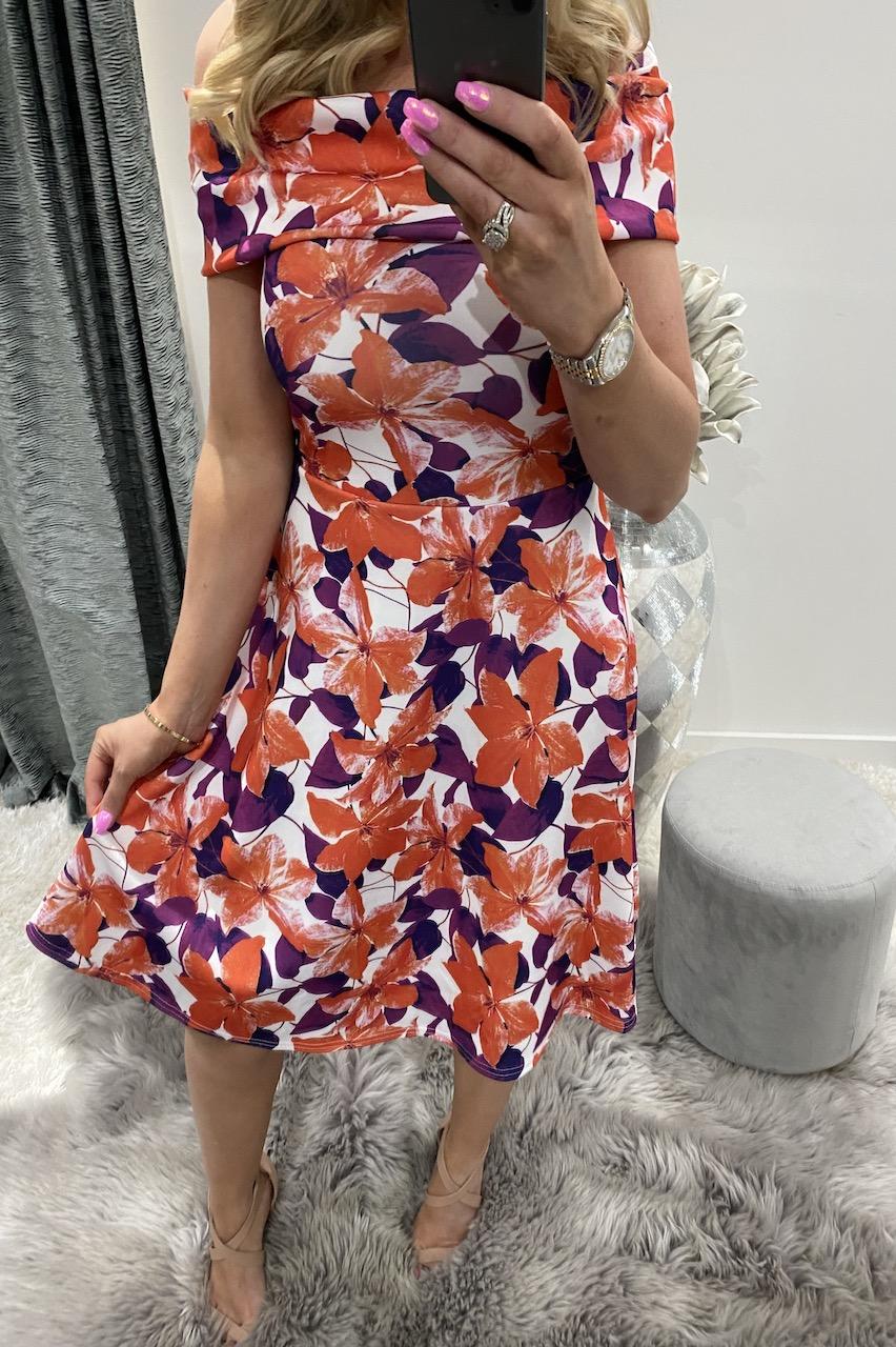 White & Purple Lendra Bardot Skater Dress