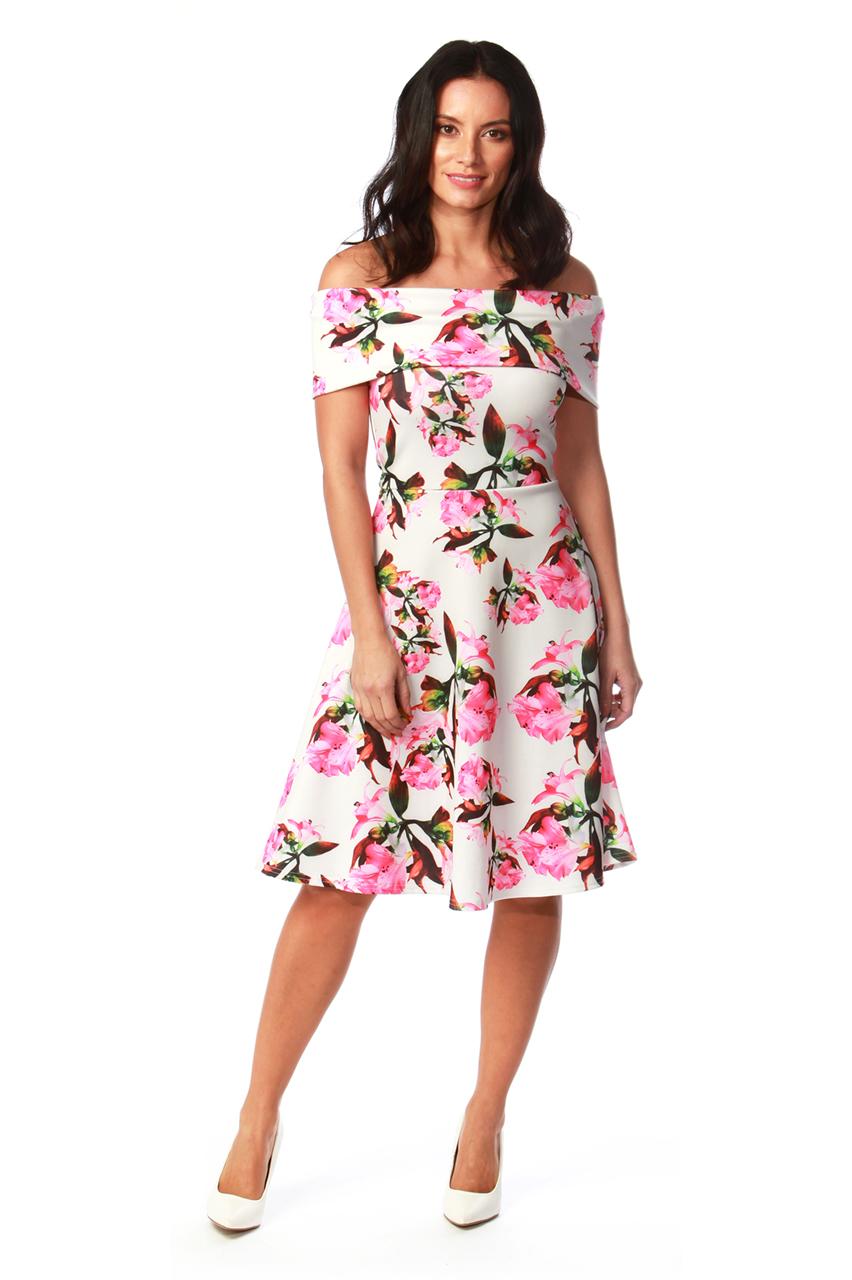 Cream Orella Bardot Skater Dress