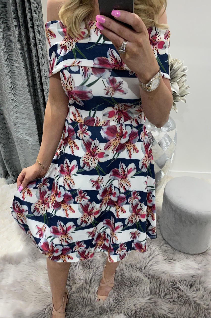 Stripe Floral Tricia Bardot Skater Dress