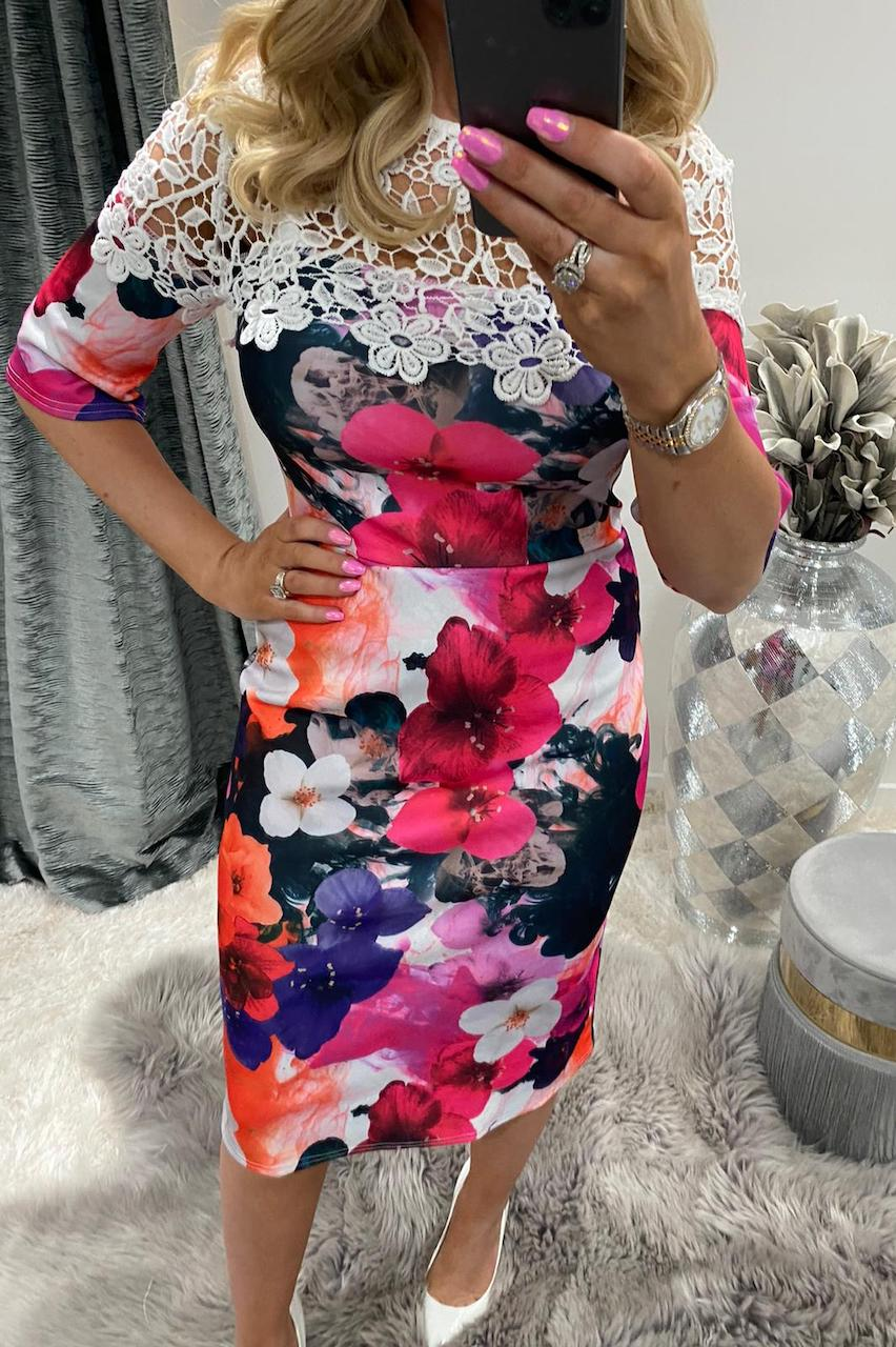 Tropical Lu Lu Lace Floral Bodycon Dress