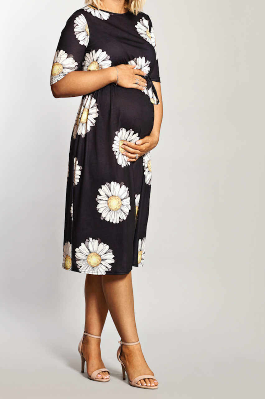Maternity Black Daisy Printed Belted Midi Dress
