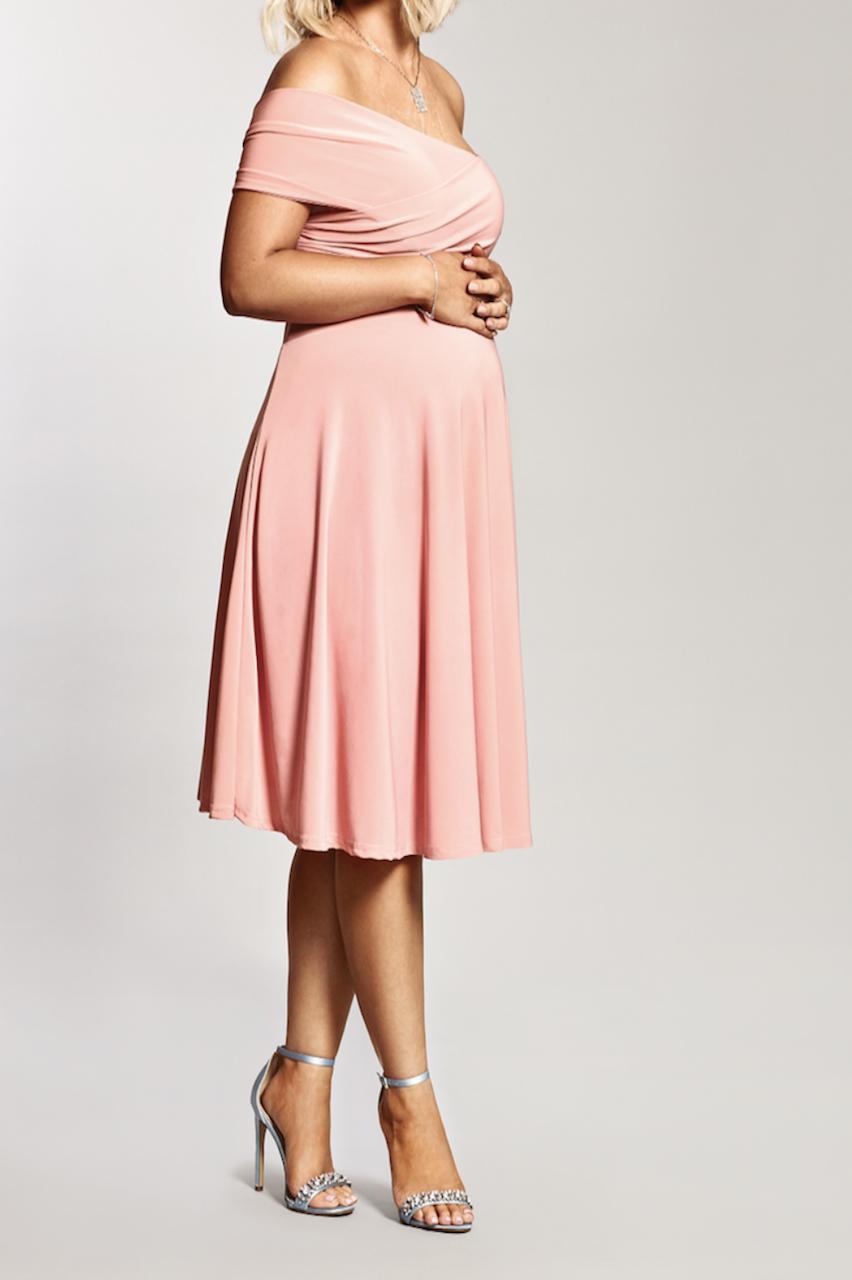 Maternity Pink Bardot Twist Front Detailed Dress