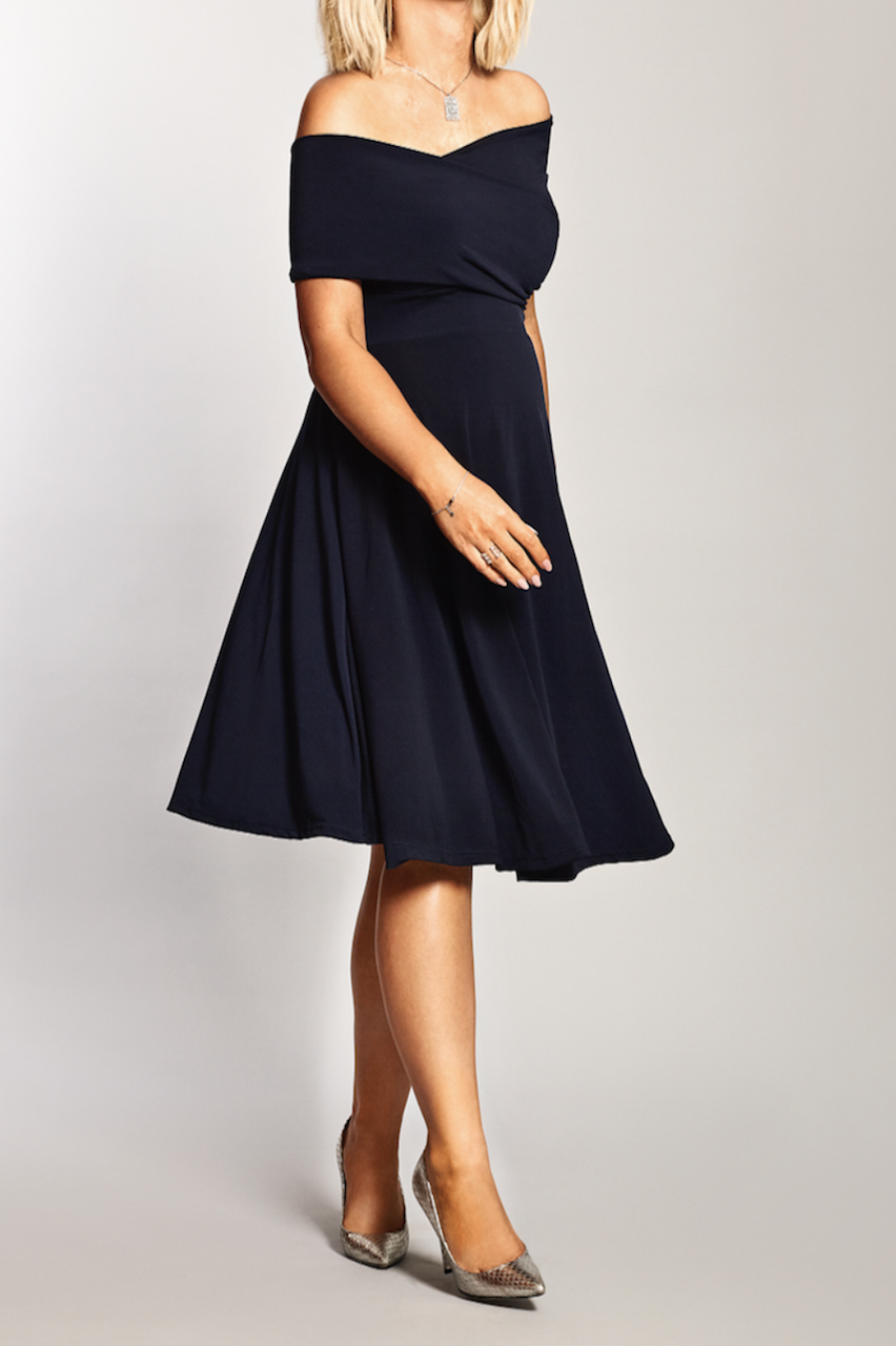 Maternity Navy Bardot Twist Front Detailed Dress