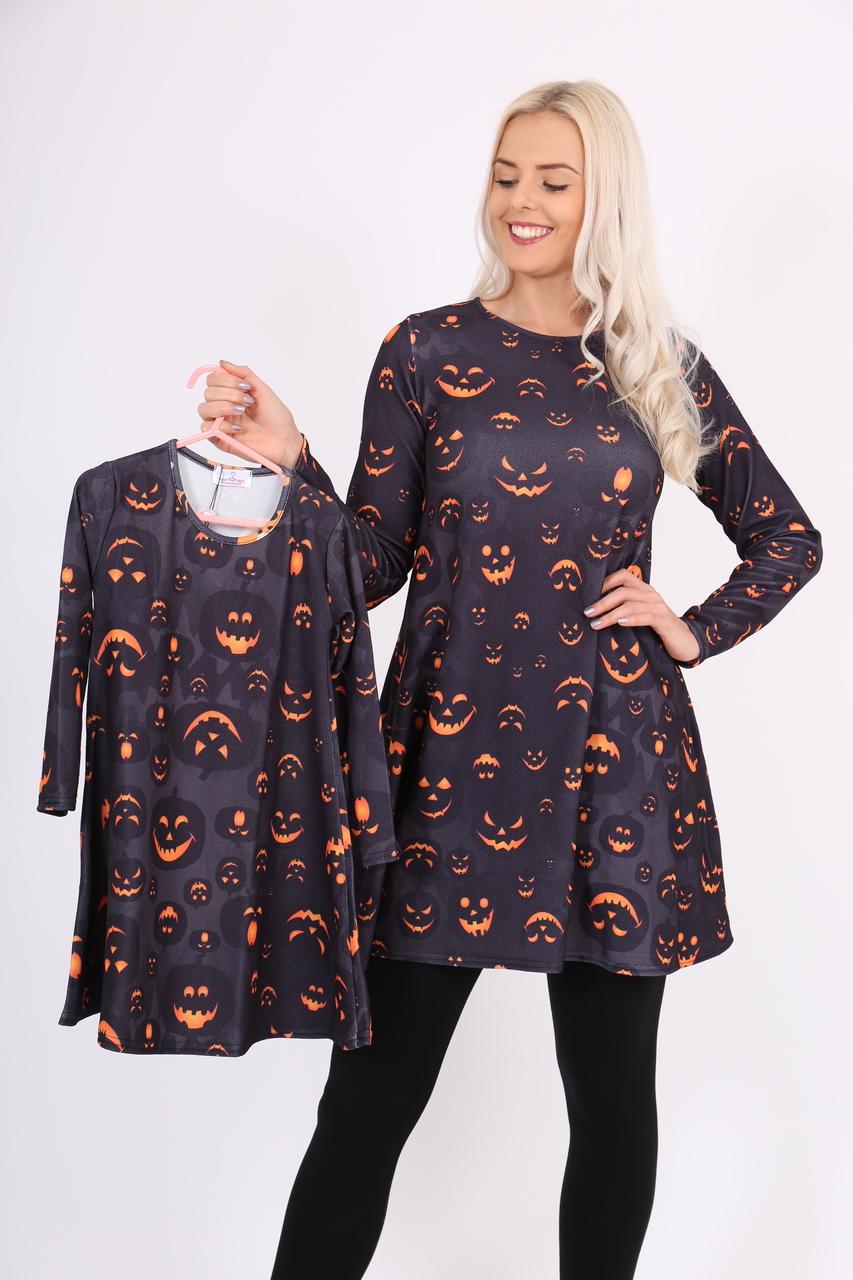 Children's Scary Pumpkin Halloween Swing Dress