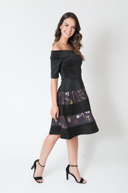 Mimi Black Panelled Off Shoulder Skater Dress
