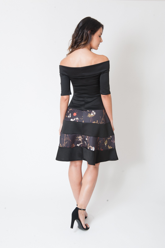Mimi Black Panelled Off Shoulder Skater Dress