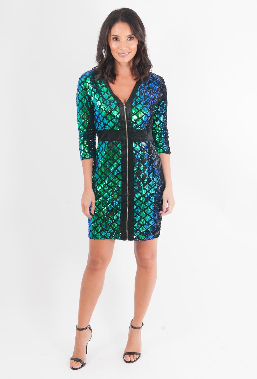 Lux Nysha Green Velvet  Sequin Zip Bodycon Dress
