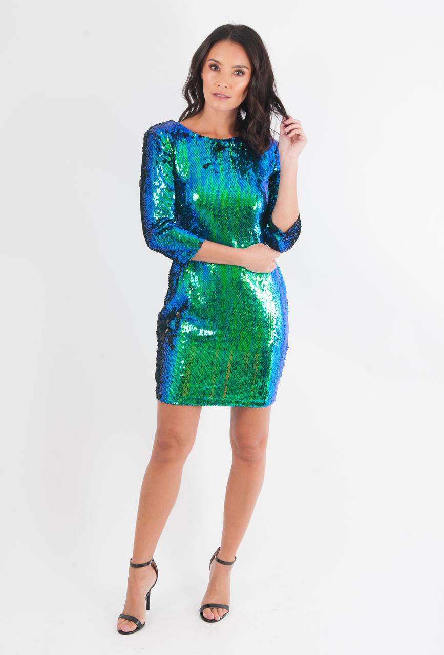 Lux Emerald Green Two Tone Sequin Bodycon Dress