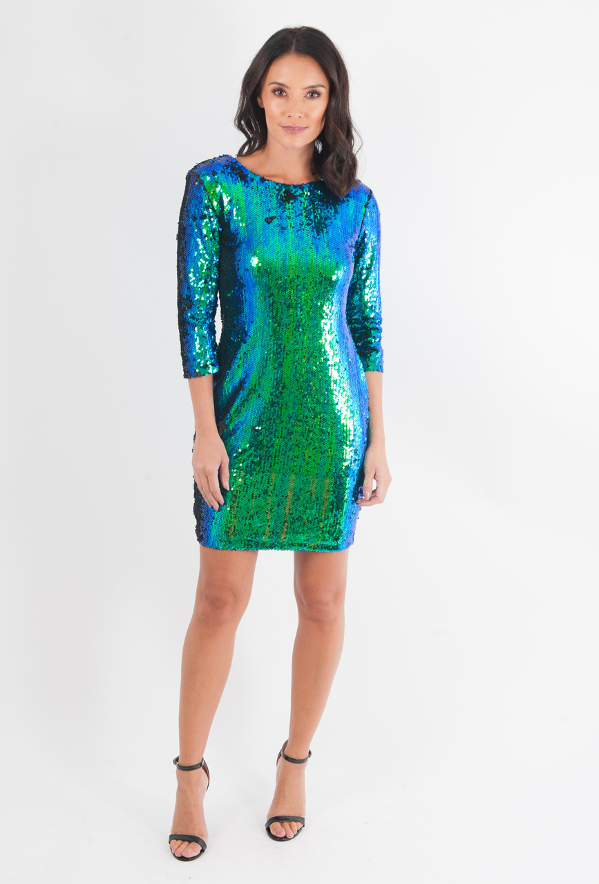 Lux Emerald Green Two Tone Sequin Bodycon Dress