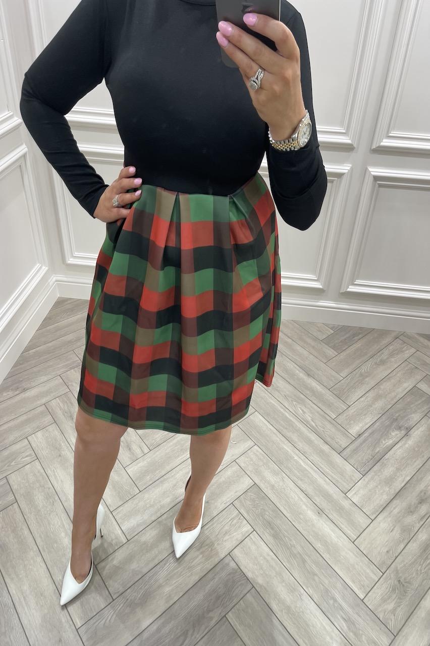 Tartan Contrast Skater Dress