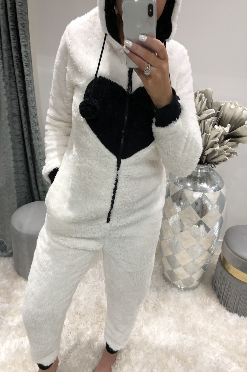 Deluxe White Panda Fleece Onesie