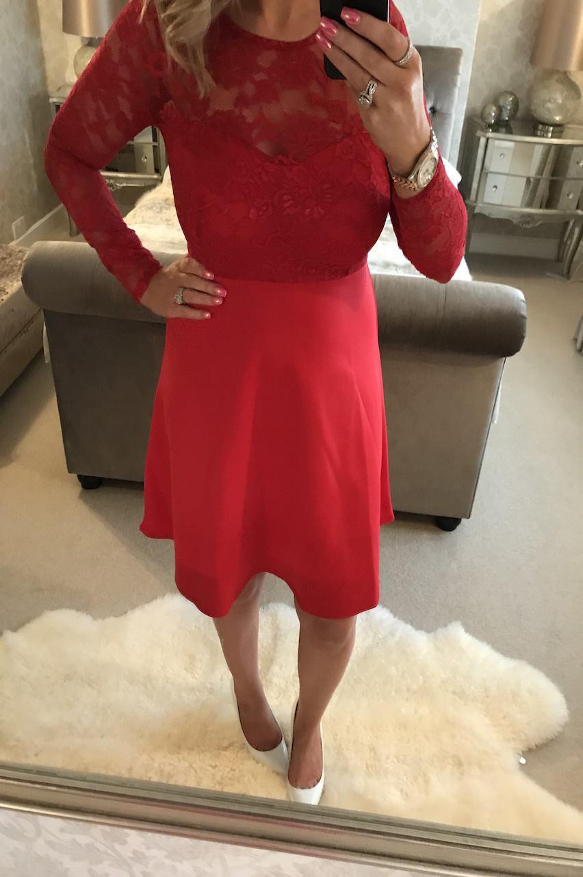 Gabriela Red Lace Skater Dress